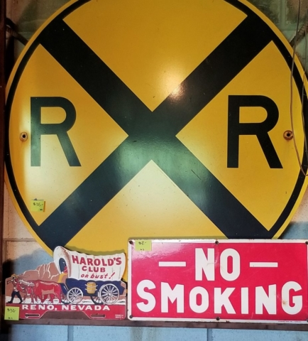 Good RR Sign aned a great Harolds or bust tin sign