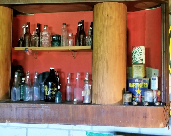 bottles and oil cans